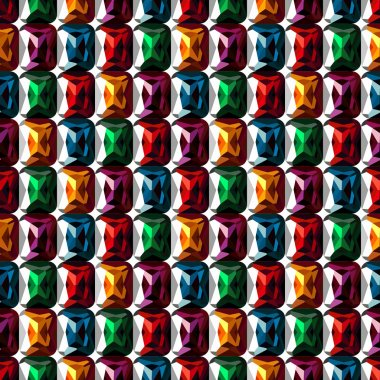 Seamless vector pattern. Abstract symmetrical background with closeup colorful gems