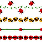 Vector seamless line with insects. Set of elements for design,  borders with ladybugs, branches and leaves, isolated on the white background.