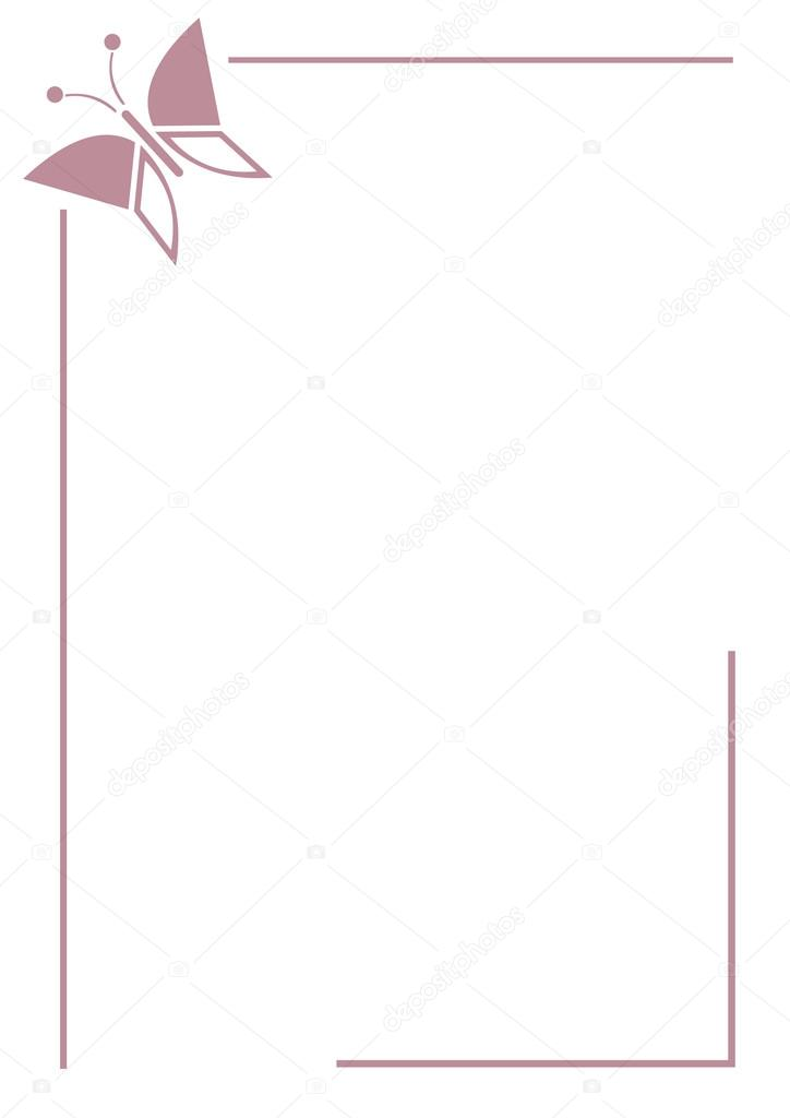 vector blank for letter or greeting card simple pink form with frame lines and butterfly a4 format jeveeart