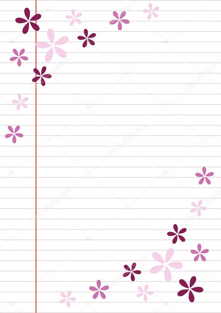 vector blank for letter or greeting card paper of notebook white form with lines and colorful flowers a4 format size vector by jeveeart
