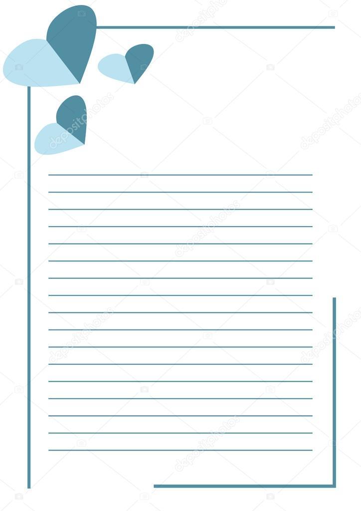 Vector blank für Brief oder Grußkarte. Weiße Papierform mit blauen ...