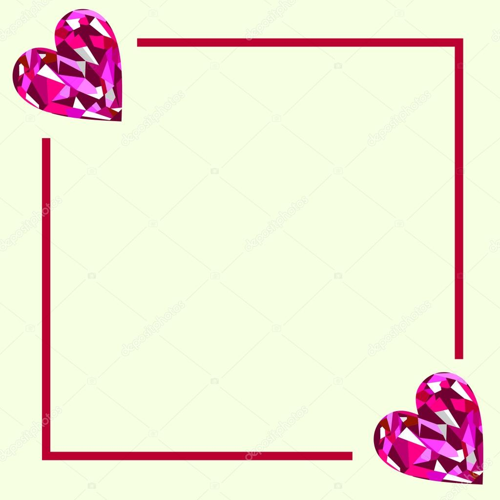 Vector greeting card white form with pink gems in the shape of vector greeting card white form with pink gems in the shape of hearts and border series of cards blanks and forms vector by jeveeart m4hsunfo