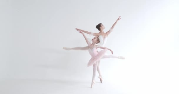 Female and little girl in a white tutu, dance ballet and perform choreographic elements on a white background, rehearsal.