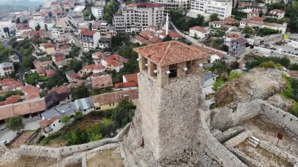ancient historical ruins, old tower in the archelogical city, Kruje, Albania, arial shot from drone