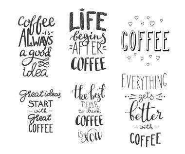 Quote coffee vector typography set