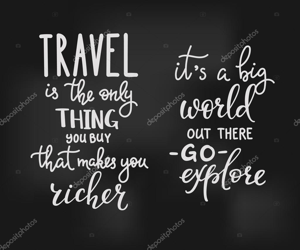 Citaten Reizen : Reizen inspiratie citaten belettering — stockvector
