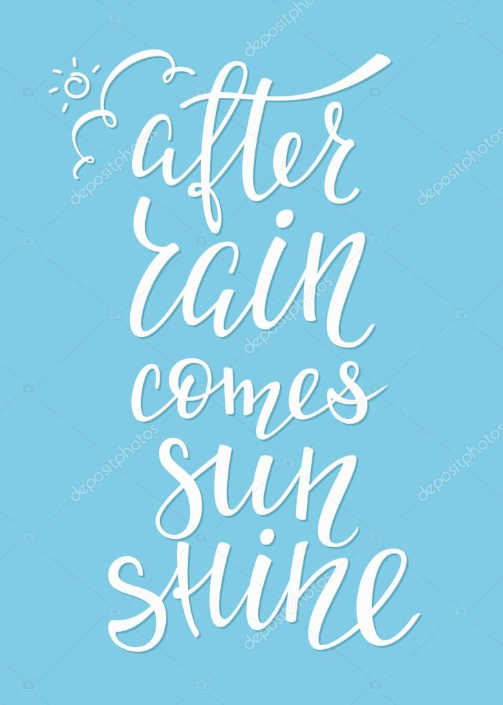 After Rain Comes Sunshine Quote Typography Stock Vector Lenaro