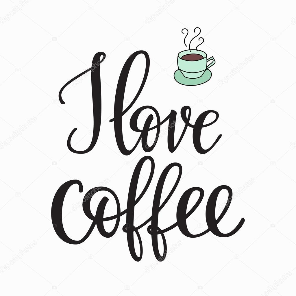 I love coffee typography — Stock Vector © LenaRo #121936608