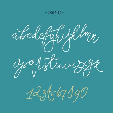 Vector handwritten pointed pen font