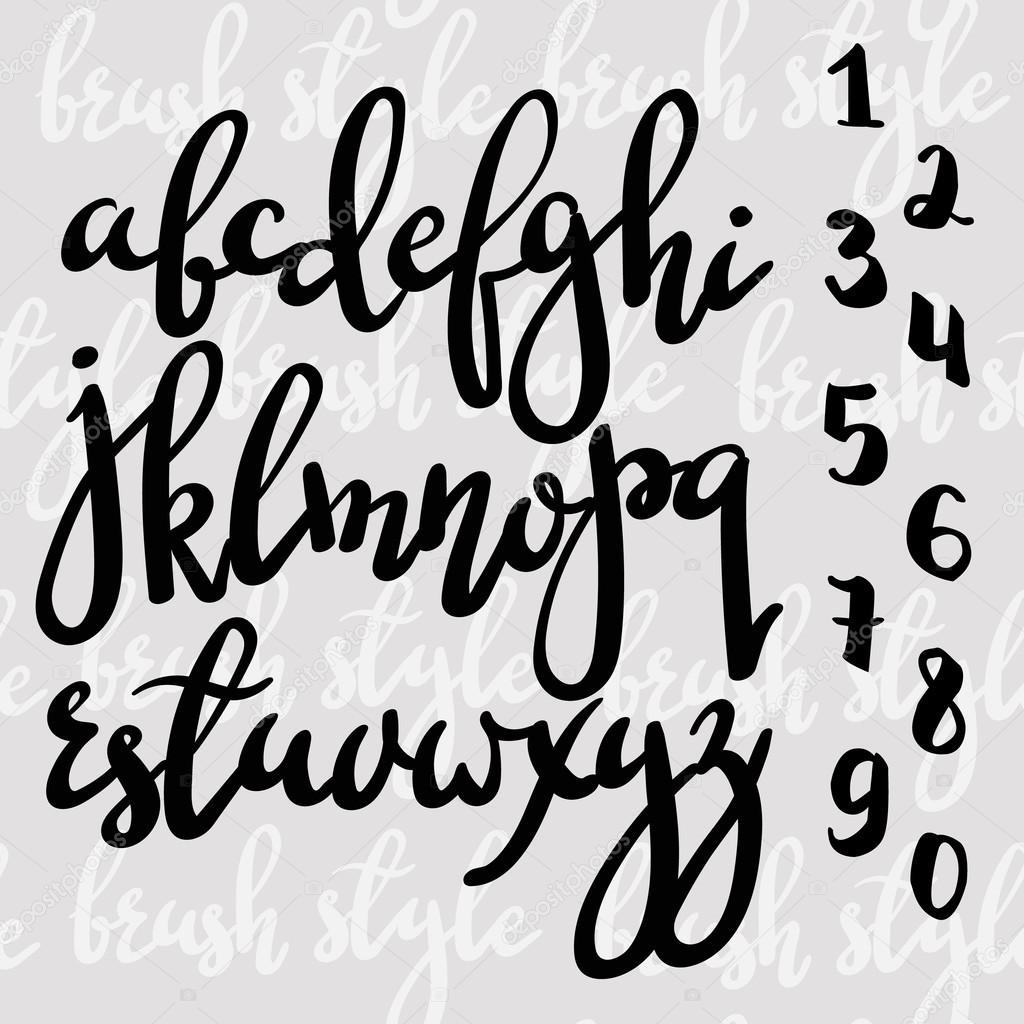 Handwritten Brush Pen Modern Calligraphy Font Stock Vector