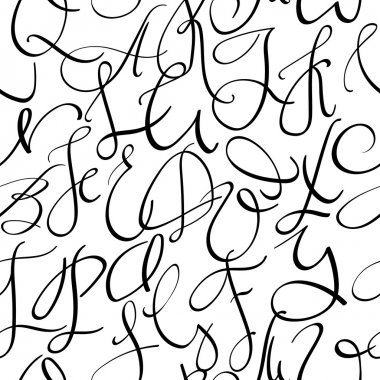 Handwritten pointed pen font seamless pattern