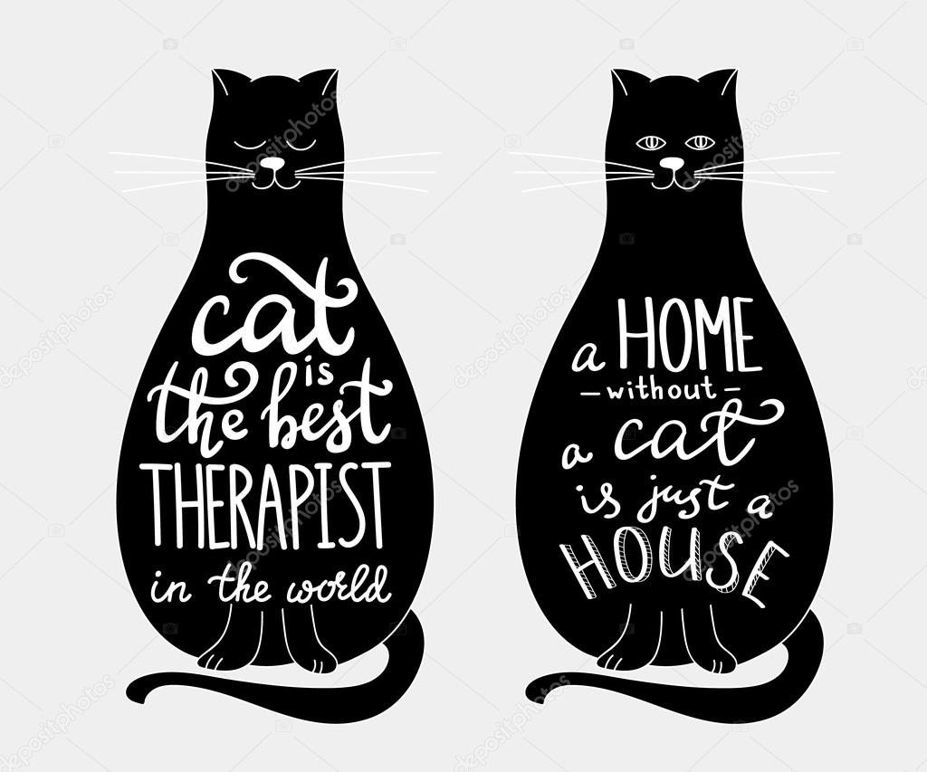 Iics: cats with quotes | Cat quotes lettering set on cats ...