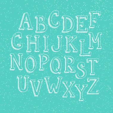 Doodle 3d alphabet, vector simple hand drawn letters textured with pencil doodles. Decorative font for books, posters, postcard, web hand drawn style typography. clip art vector