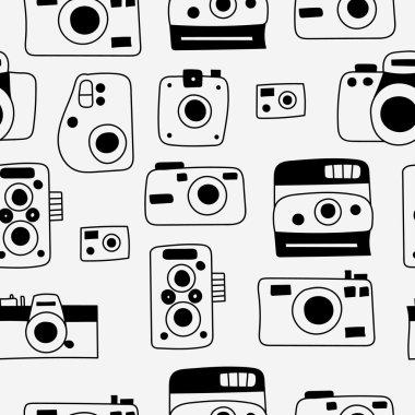 Photo cameras seamless pattern