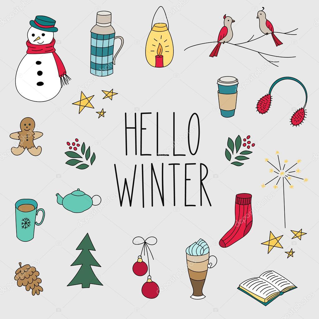 Winter doodles hand drawn set