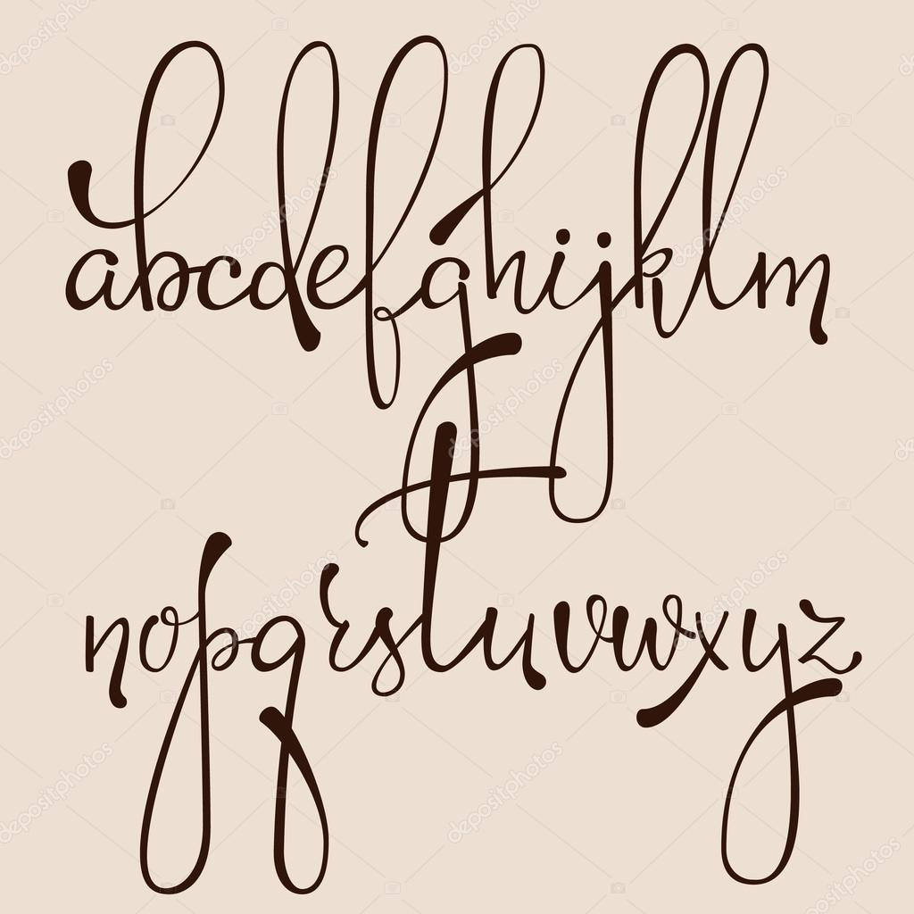 Handwritten Pointed Pen Ink Style Dacorative Calligraphy Cursive Font Alphabet Cute Letters Isolated Letter Elements Typography