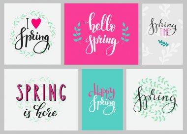 Hello spring typography set