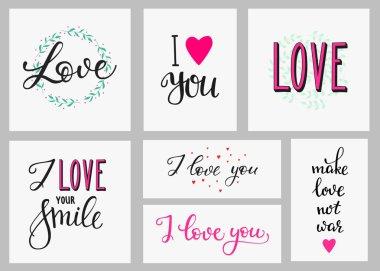 Romantic love inspiration lettering set