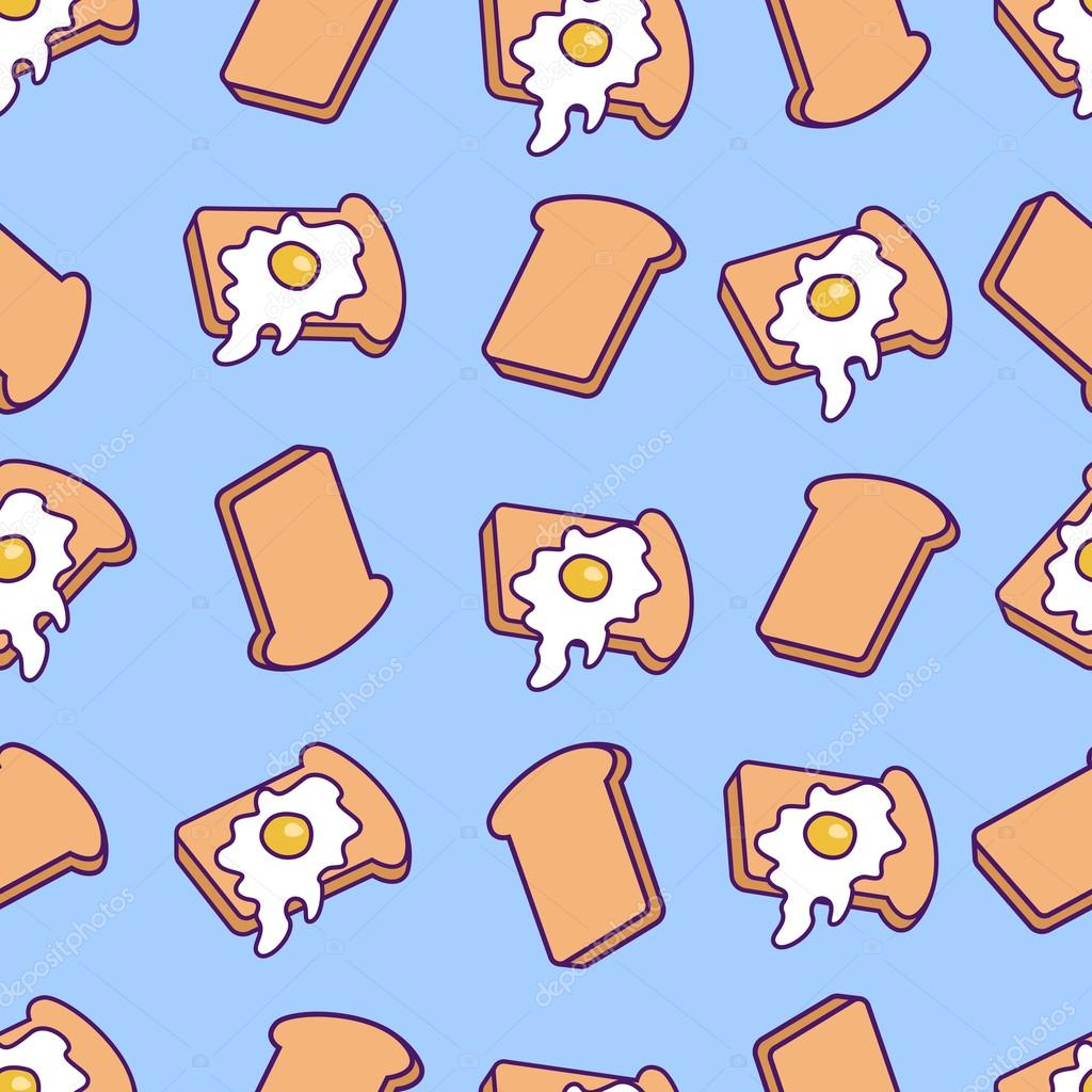 vector pattern with toasts and fried eggs cartoon toasts with