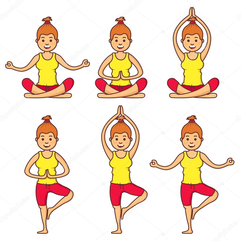 Vector Set With Beautiful Cartoon Woman Exercising Various Different Yoga Poses Fitness Poses Cartoon Yoga Girl Relaxation In Yoga Poses Girl Relax Health Girl Stock Vector C Garikprost 119059156