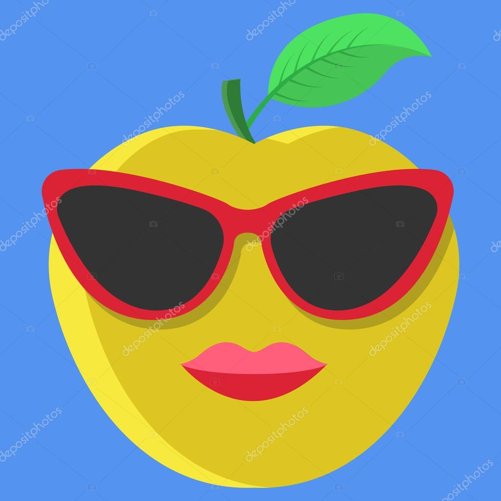 312aabed24374 stock illustration. Vector yellow apple cartoon. Apple with glasses. Apple  with lips. Apple Fashion.