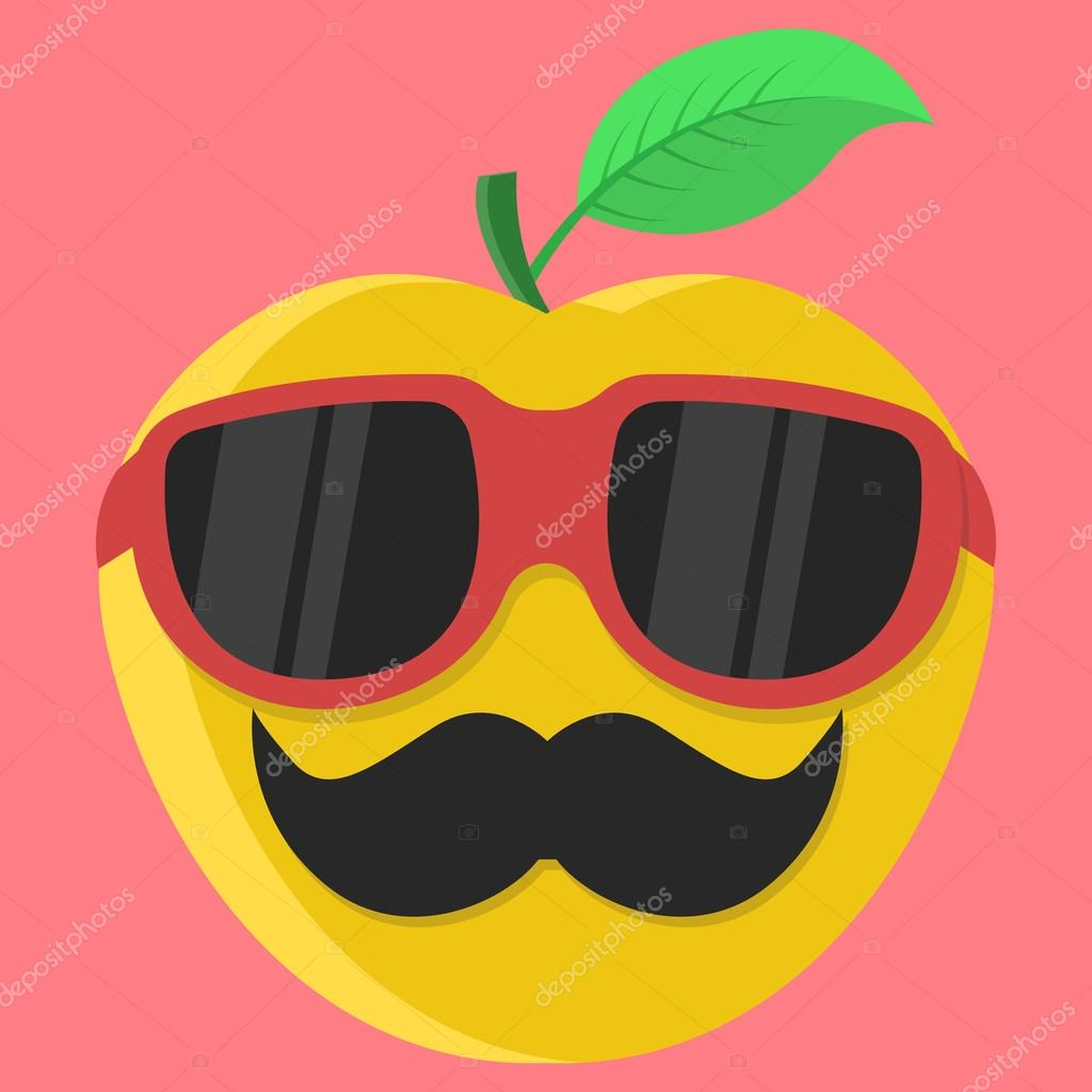 910517d11c15c stock illustration. Vector yellow apple cartoon. Apple with glasses. Apple  with mustache. Apple Fashion.