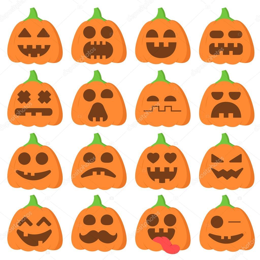 Définissez Icône Emoji Dessin Animé Citrouille Orange Pour