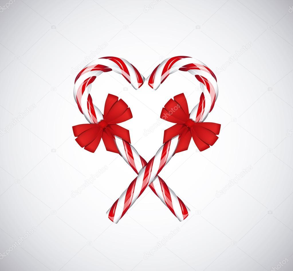 Dulces de Navidad tradicionales bastones en forma de corazón con ...