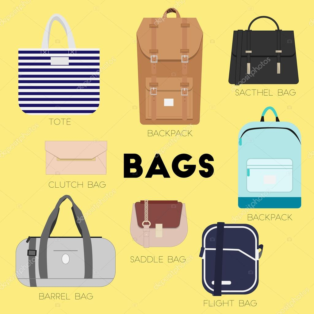 c1abdd75832c Bags set. Different kinds of bags and purses. Minimal flat vector  illustration for print or web. Luggage