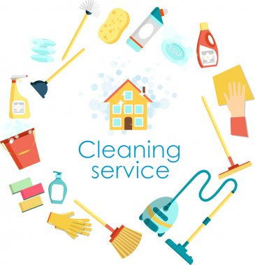 Concept of cleaning service. Flat vector set of cleaning tools and household supplies. Minimal vector graphics for web site, poster, banner, flier or print.