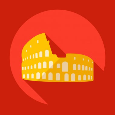 Flat modern design with shadow Colosseum Icon
