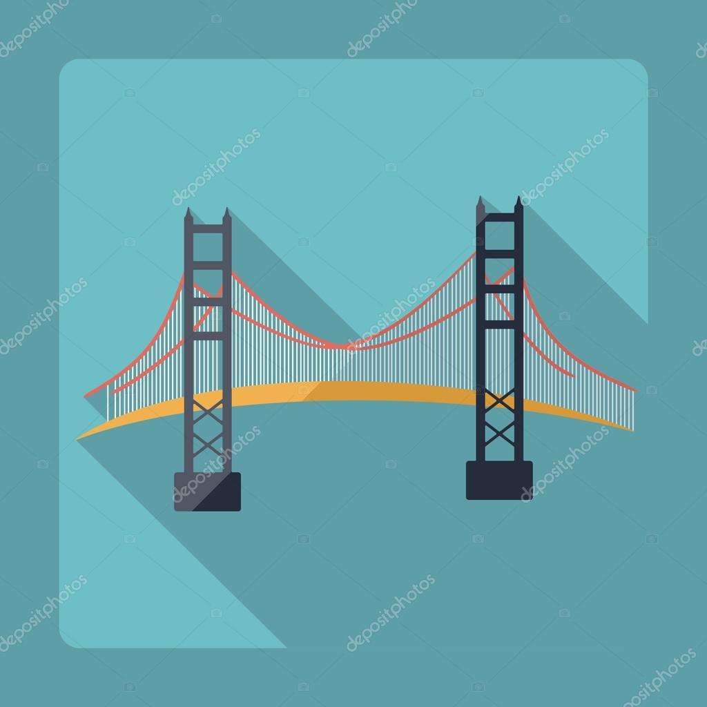design plat moderne avec le pont de golden gate de san francisco d 39 ombre image vectorielle. Black Bedroom Furniture Sets. Home Design Ideas