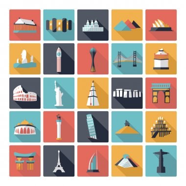 Flat concept design with shadow sights of world famous monuments