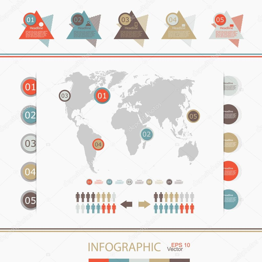 Retro infographics set world map and information graphics stock retro infographics set world map and information graphics stock vector gumiabroncs Gallery