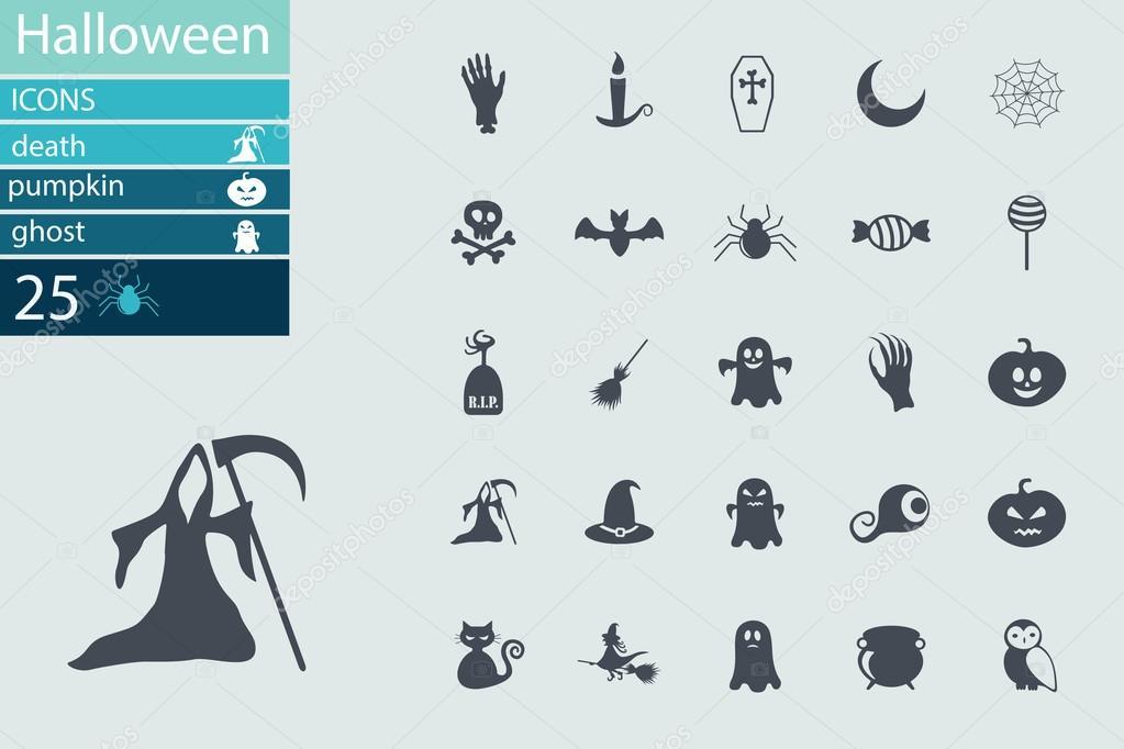 Set of Halloween characters. Scrapbook elements. Vector illustration ...
