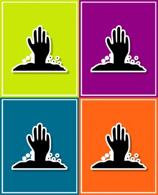 new and creative style sticker on background zombie hand