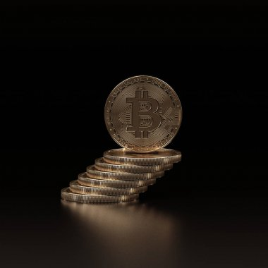 3 boyutlu bitcoin yorumlama kavramı. Yeni sanal para. Şifreli para birimi.