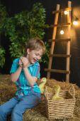 Malý chlapec hraje s malou housata na farmě