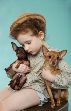 beautiful girl with  sweet dogs
