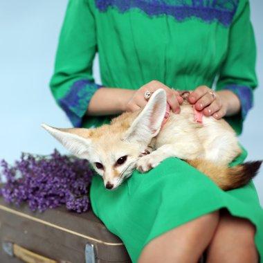 beautiful girl with Fennec fox