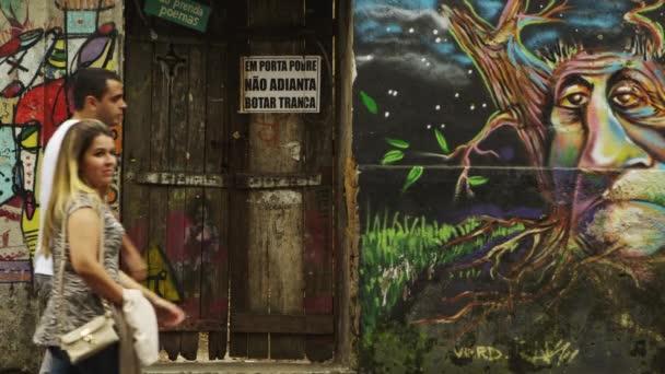artwork on walls in Rio de Janeiro