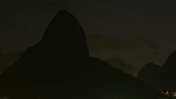 Dois Irmaos mountain at night in Rio