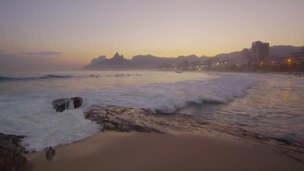 Waves rolling into Copacabana Beach