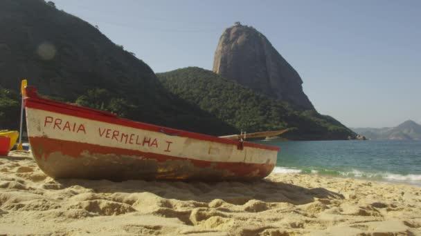 fishing skiff on Red Beach in Rio.