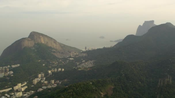 Aerial panorama of Rio city and mountains