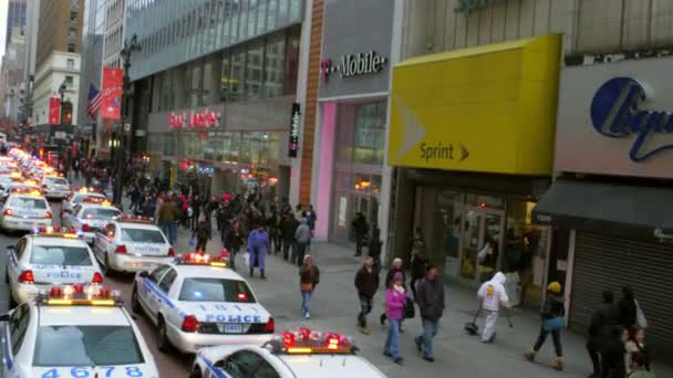 pedestrians and police cars in New York City