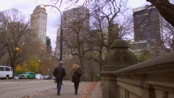couple walking towards city.