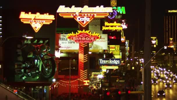 Neonové znamení Harleyho Davidsona Cafe na pásu Las Vegas