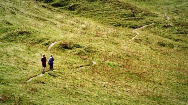 Švýcarští turisté na cestě přes louku