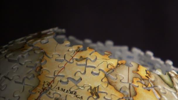 Zblízka kusu přidán do 3d puzzle Globus